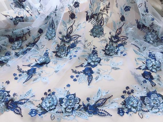 Two Tone Embroidery Beading 3d Flower Fabric Light Blue And Navy Blue Blooming Lace Fabric Wedding Beaded Embroidery Lace Fabric Fabric Flowers