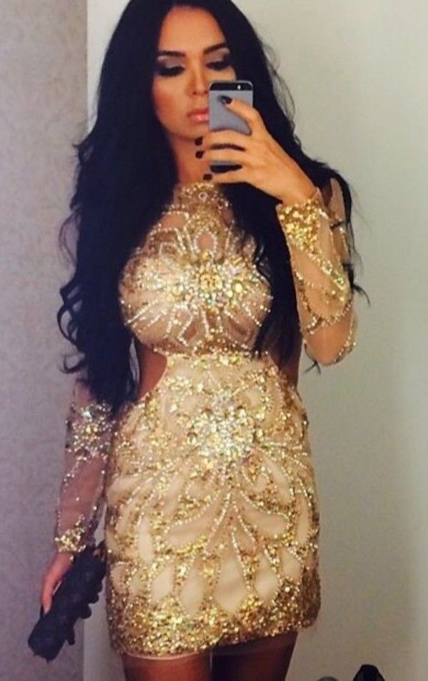 Long sleeve short gold dresses