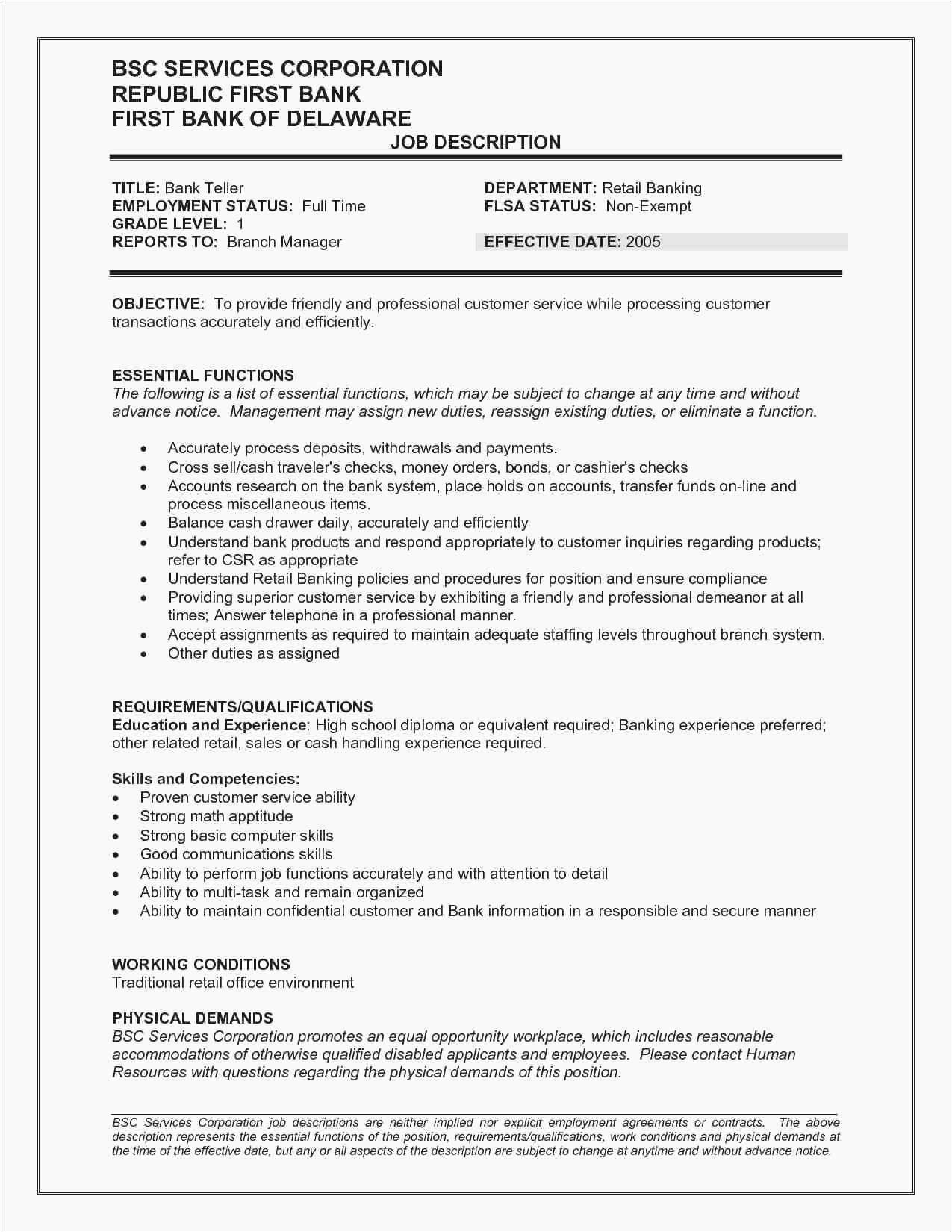 Time Management Skills Resume Unique 23 Inspirational Pics Customer Service Resumes Examples Bank Teller Resume Resume Examples Resume No Experience