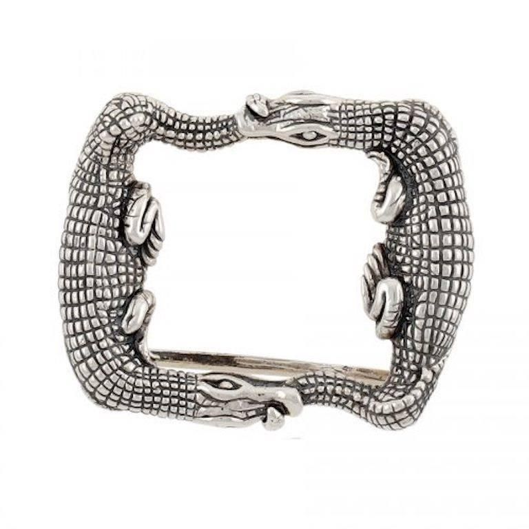 Silver Two Alligators Buckle By John Landrum Bryant Silver