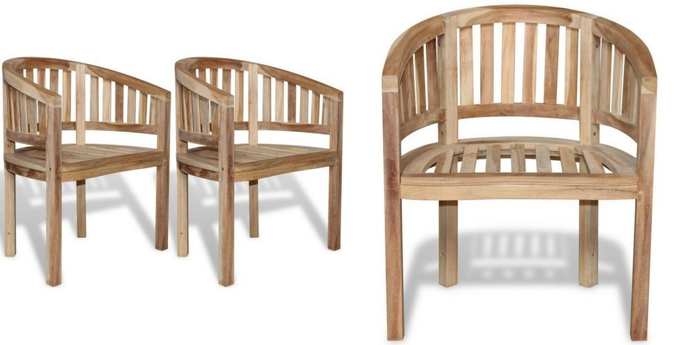 Wooden Teak Chair Set Garden Outdoor Dining Armchairs Seats 2 Pc Patio Furniture