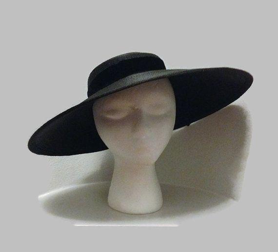 ae5820a1b8b7 1950s Hat / Black Straw Cartwheel Hat Dior New by BatCityVintage ...