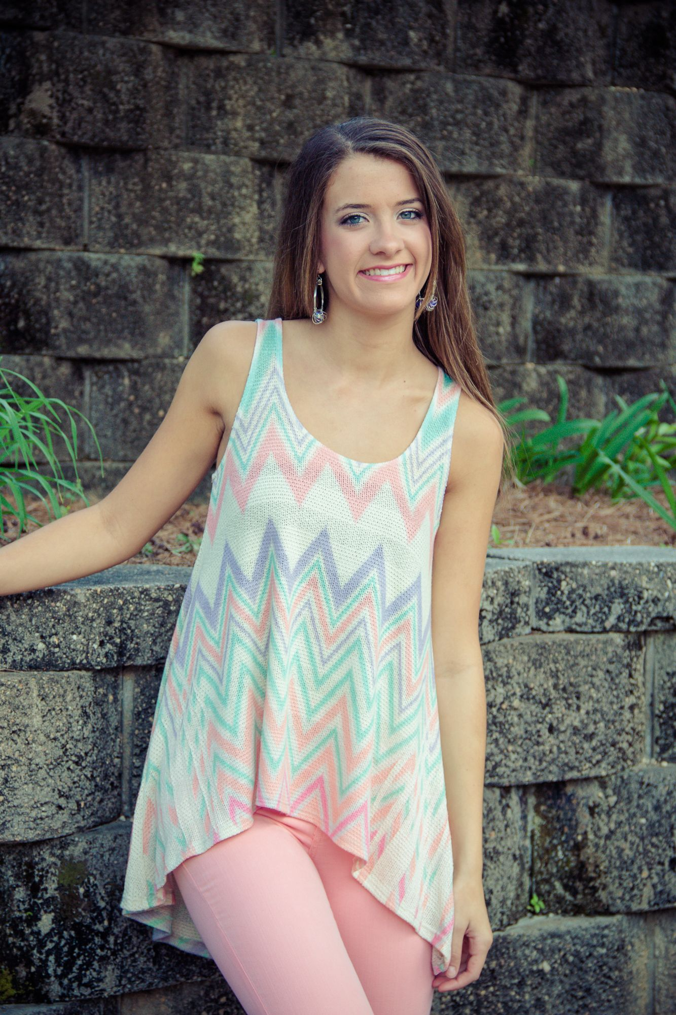 So easy and Chic in this pastel chevron high/low top!