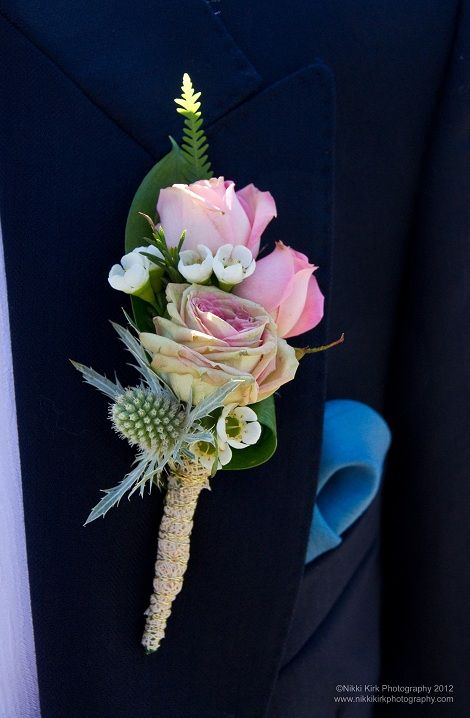 English Garden Rose Wedding Buttonhole