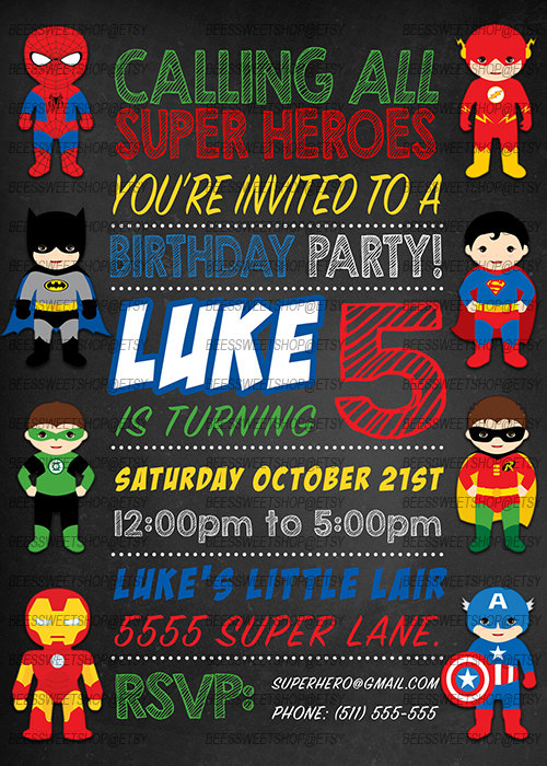 Superhero Birthday Invitations Printable Digital File Personalized