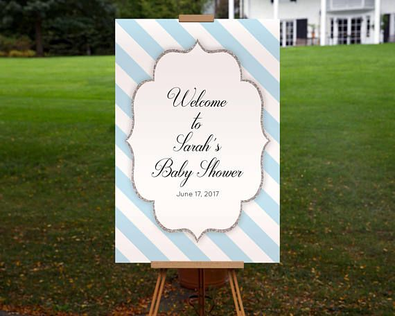 Baby Shower Welcome Sign Printable Personalized Blue White Silver Large Welcome Board PDF Template Instant Download Signage Boy 0061A-BWS by TppCardS #tppcards #printable #invitations