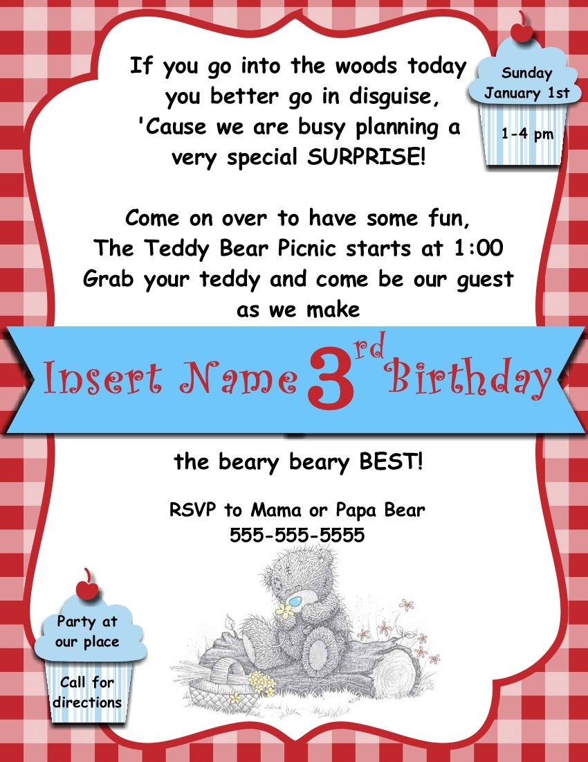 Digital Teddy Bear picnic invitation template … | Pinteres…
