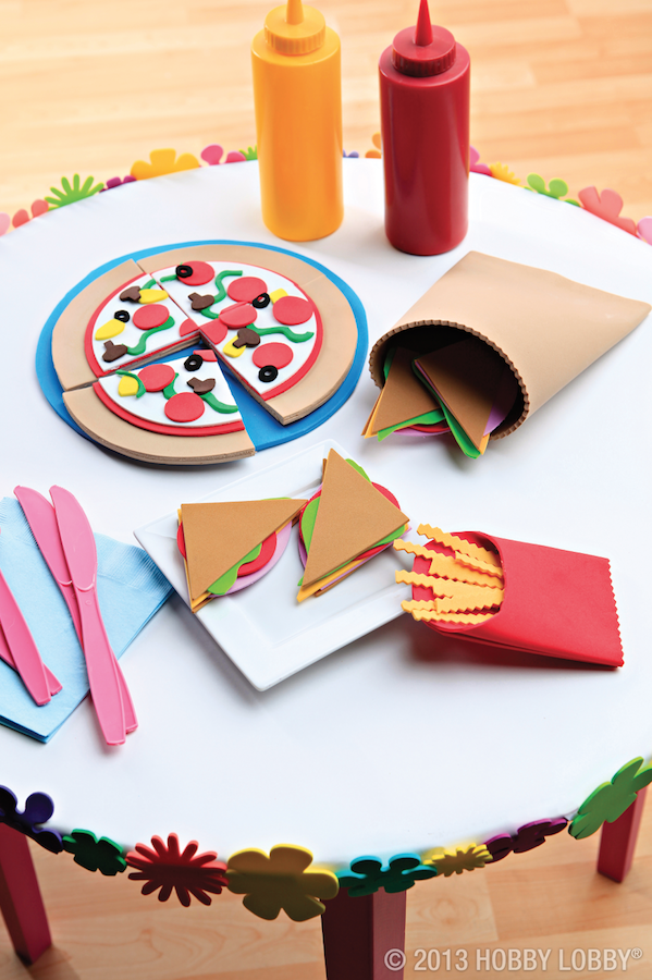 Feeling crafty? Try whipping up a foam feast that's sure to please even the toughest food critic! TIP: Leave the pizza toppings loose so kids can make their own pizza.