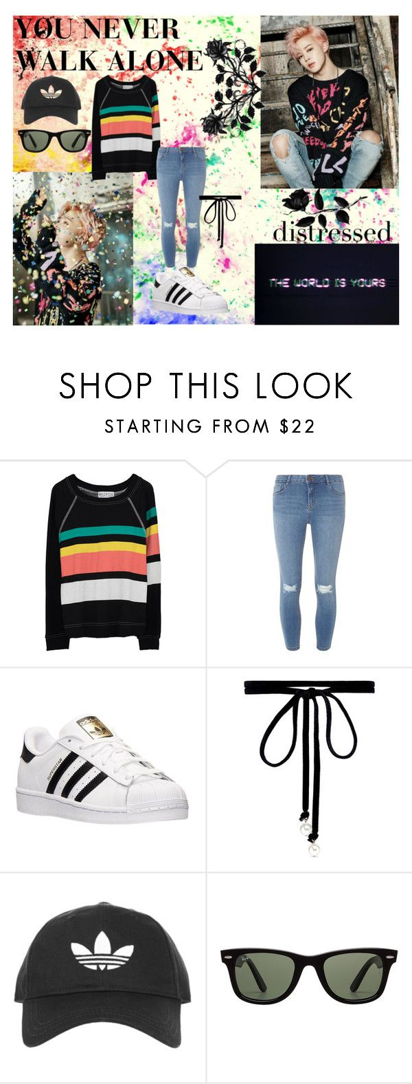 """""""Jimin: You Never Walk  Alone"""" by ks2823 ❤ liked on Polyvore featuring Wildfox, Dorothy Perkins, adidas, Joomi Lim, Topshop and Ray-Ban"""