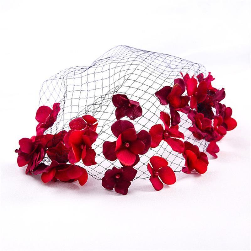Red Flower Bridal Headpiece Hair Comb With Black Veil Party Ornament Headdress Hair Jewelry Wedding Hair Accessories WIGO0682