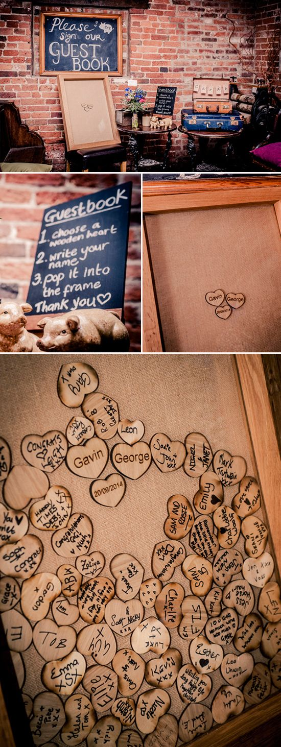 Guests write on wooden hearts with a sharpie pen drop