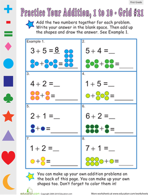 Count The Dots Single Digit Addition 21 Worksheet Education Com Addition Worksheets Addition Kindergarten First Grade Math Worksheets