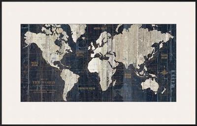 old world map blue art print by hugo wild at artcom