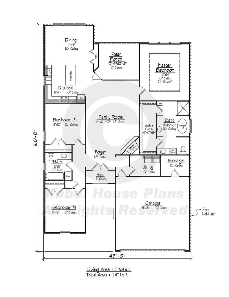 Kayville - Country French Home Plans Zero Lot House Plans ... on