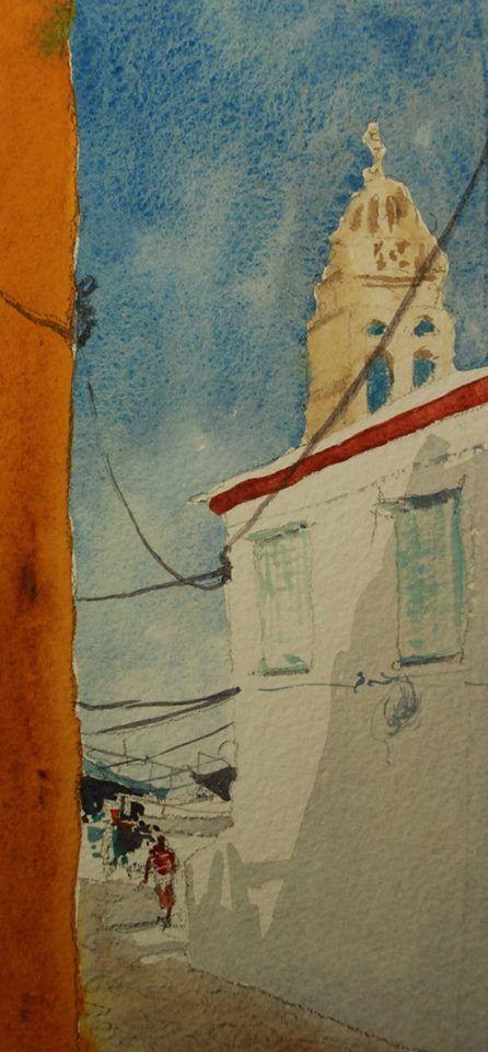 Golden Ochre Wall Backstreet Hydra Greece Plein Air