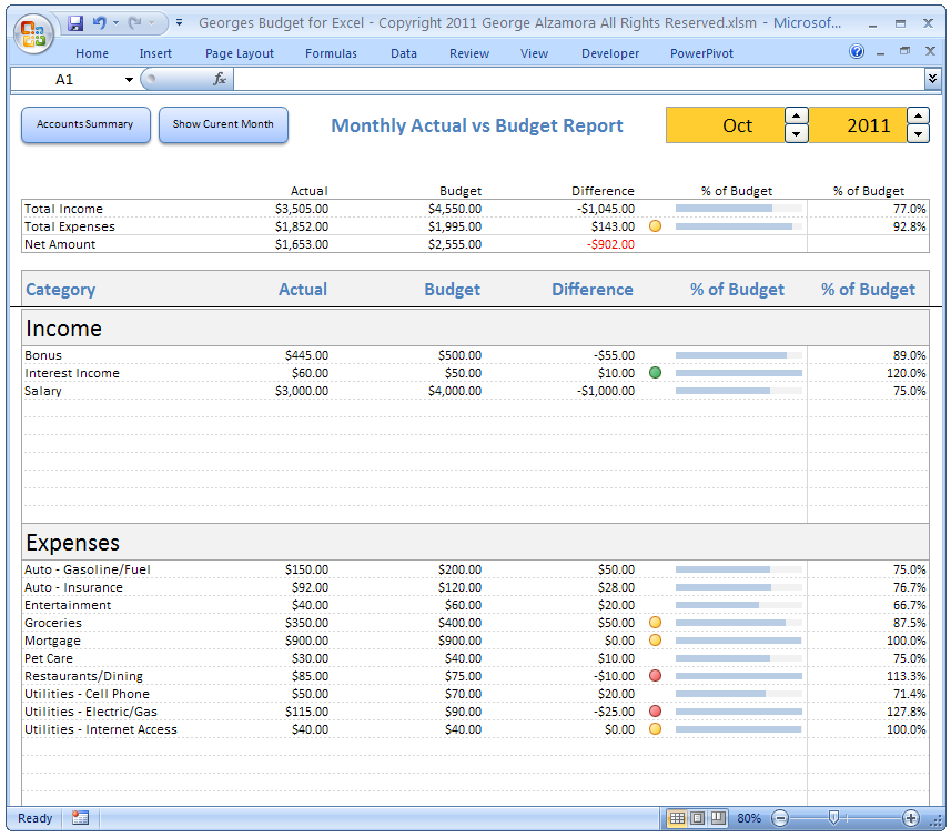 Monthly Budget Spreadsheet in Microsoft Excel - Budget vs Expense Tracking