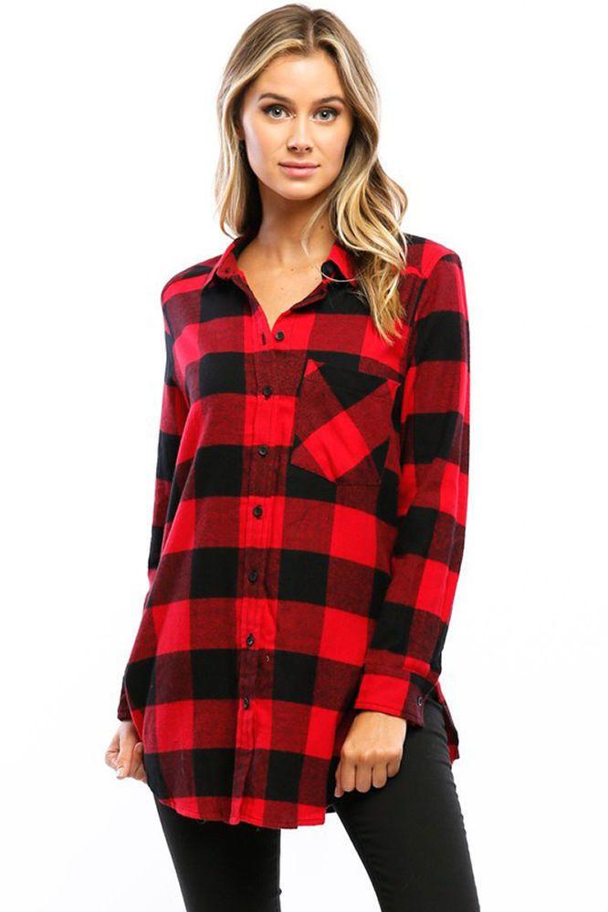 Dark Blue and Red Tartan Check Plaid Loose Shirt Blouse
