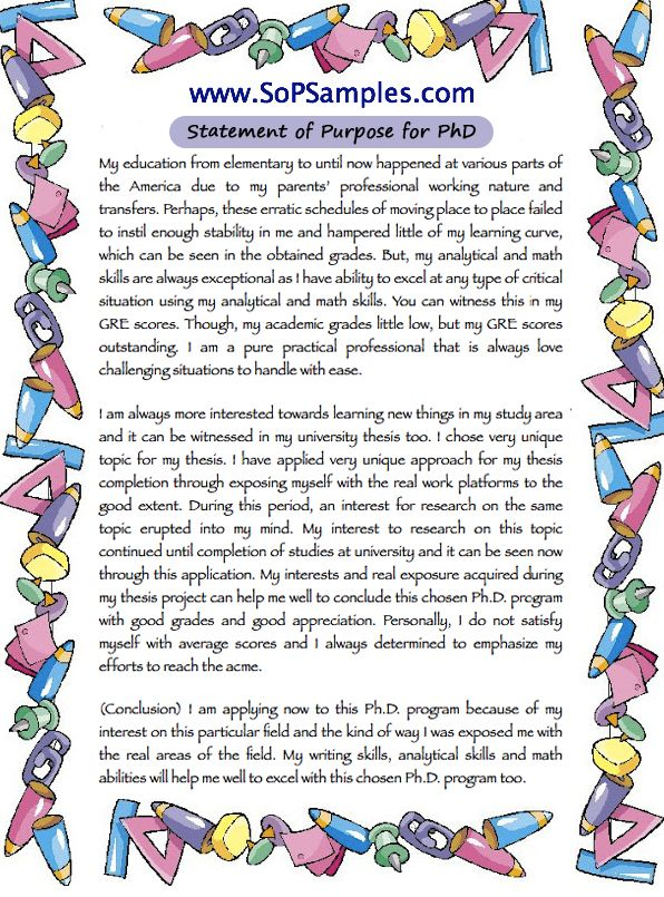 Phd Statement Of Purpose Sample  Sop Samples