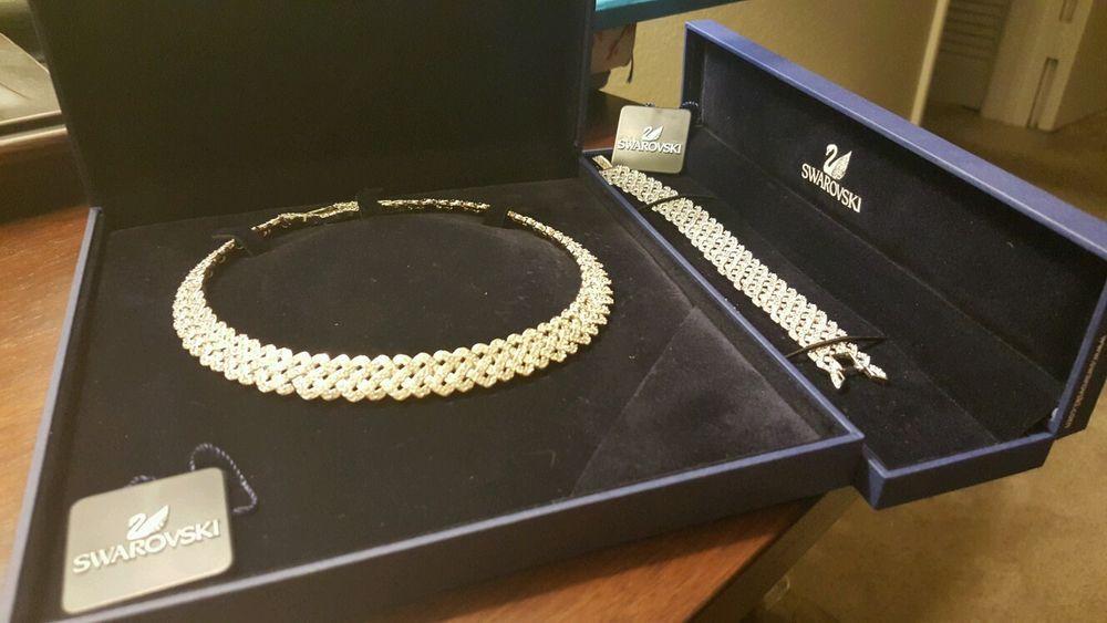 acc4c9d0ea92 Details about diamanta crystal collar necklace   bracelet set swarovski