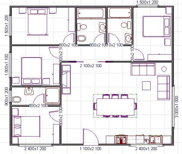 Plano de casa cuadrado planos de planta en 2019 house for Planos de casa habitacion