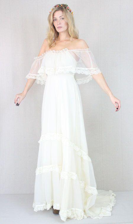 Vtg 60s 70s Cream Sheer Boho Hippie Wedding Prairie Lace Draped Maxi Bridal Dress Wedding Dresses Hippie Wedding Bridal Dresses