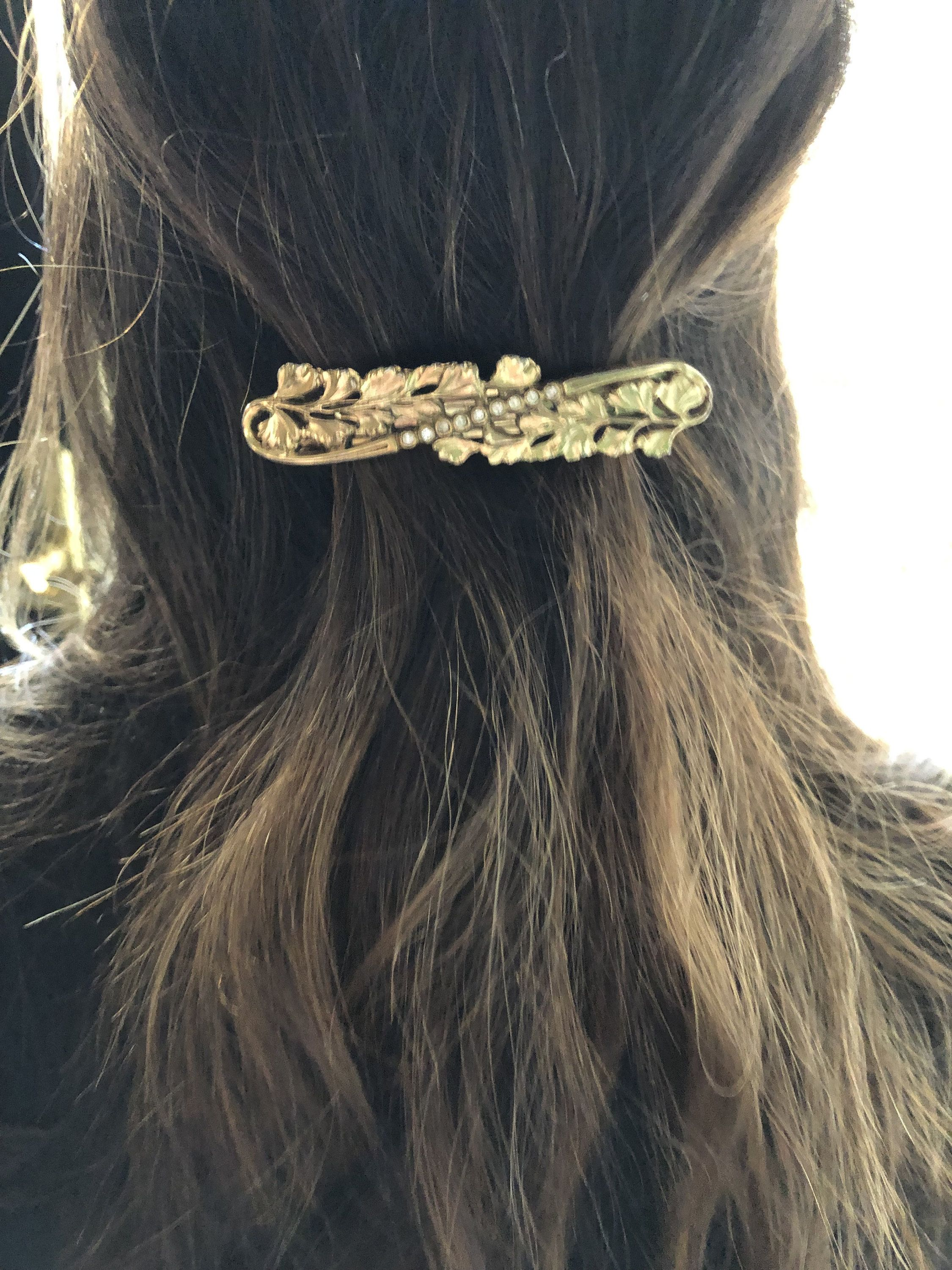 Vintage Barrette Brown Braided Barrette