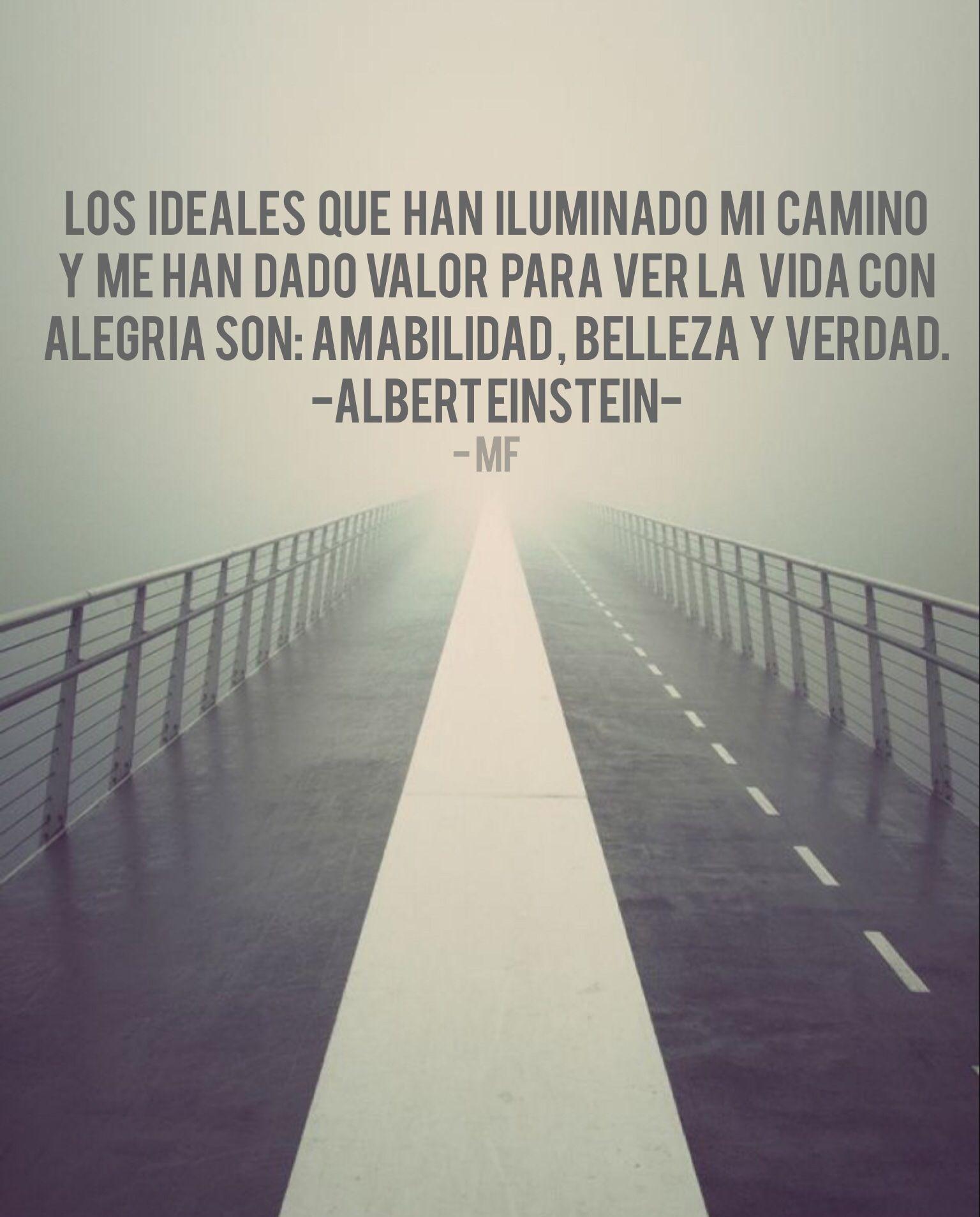 Los ideales que han iluminado mi camino y me han dado valor para ver la vida con alegría son : amabilidad, belleza y verdad. - Albert Einstein.
