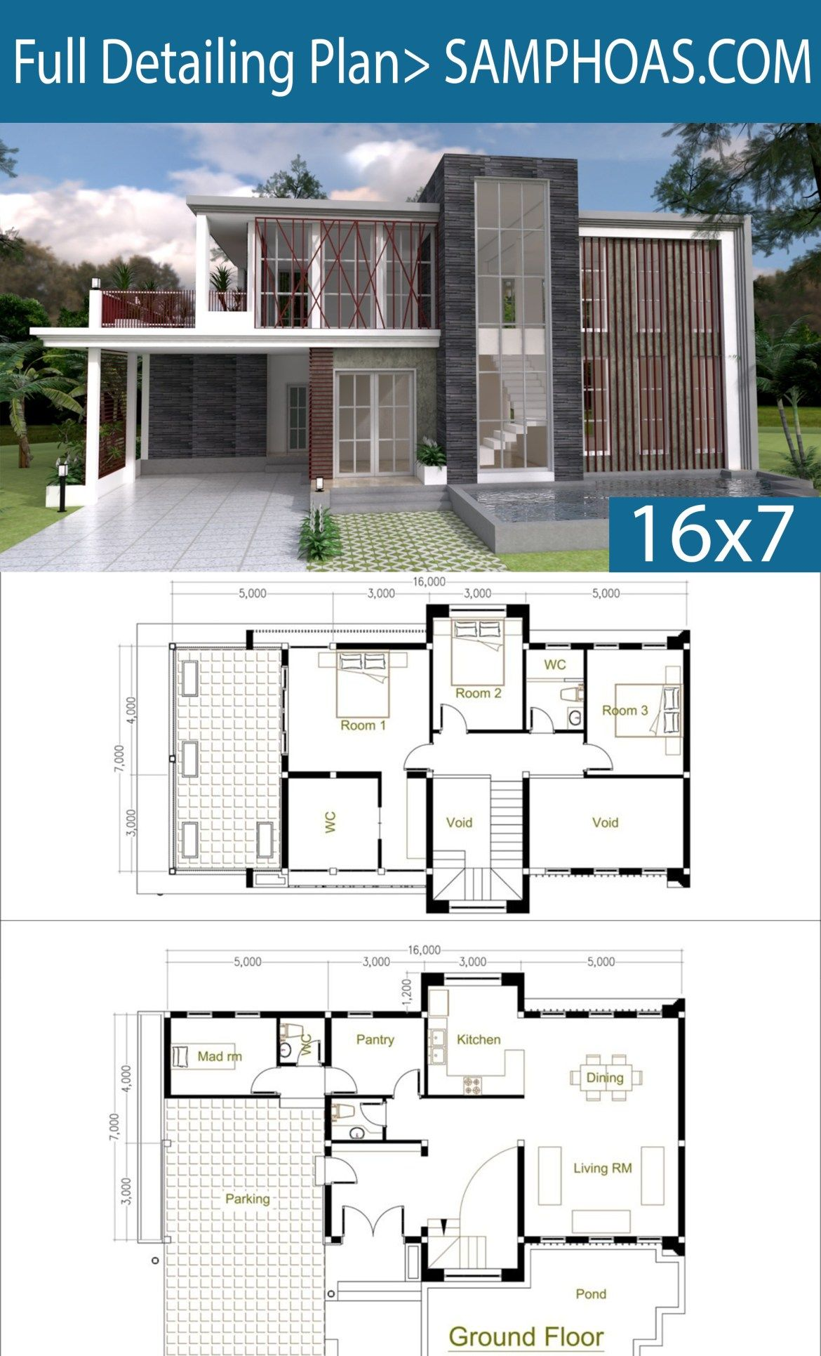 3 Bedrooms Modern Home Plan 7x16m Samphoas Plansearch Big Modern Houses Modern House Floor Plans Modern House Plans