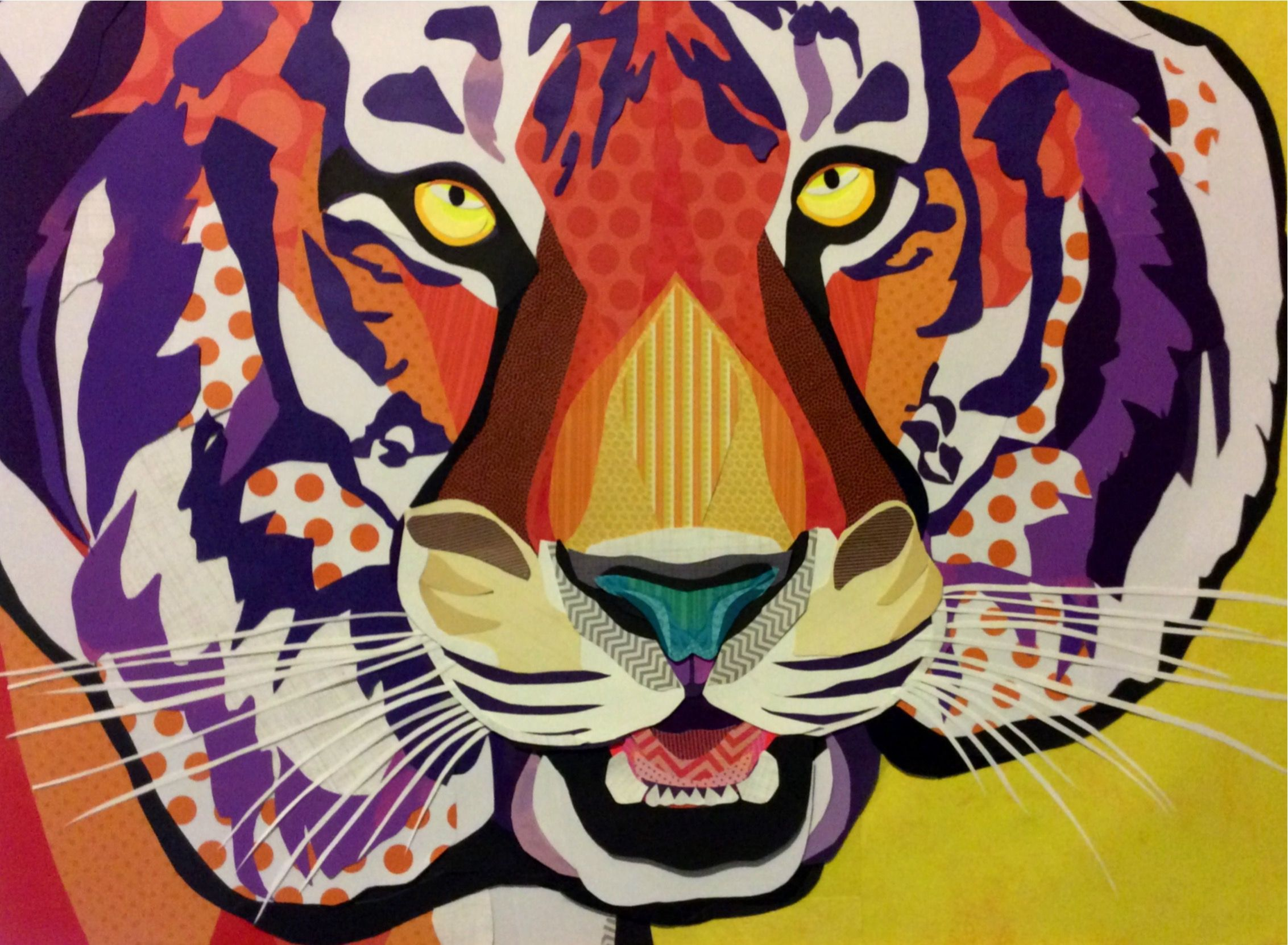 Scrapbook paper collage - Cut Paper Collage Art By Laura Yager Paper Tiger Colorful Tiger