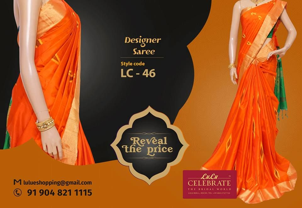 Ravishing desiger saree from Lulu Celebrate! To reveal the price of this stylish designer wear inbox us with the style code ( LC - 45 ) through lulueshopping@gmail.com.  Material: Soft Silk Color: Orange with green Work: Bavanchi border with jelly work  For more details, please contact: +91 904 821 1115  #LuluCelebrate #RevealThePrice