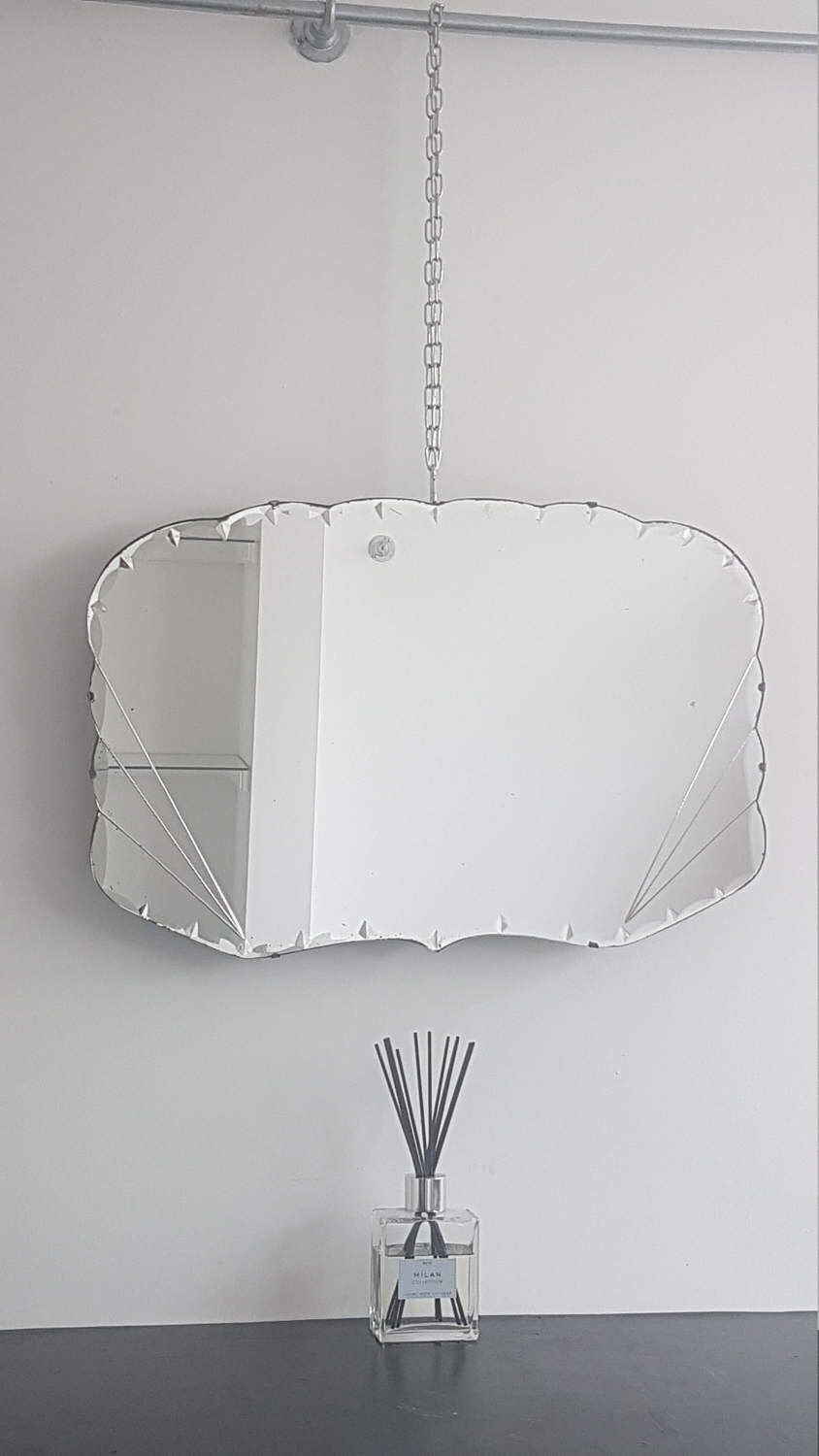 Art deco large mirror with fan clean line details and sparkling ribbon diamond edge by