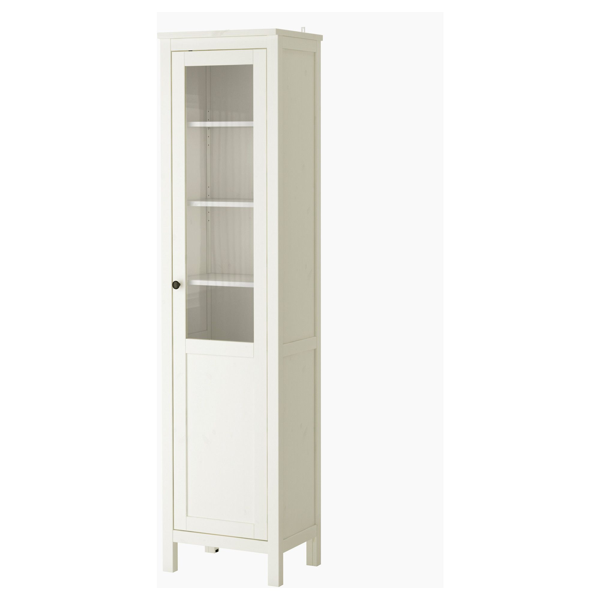 hemnes cabinet with panel/glass door - white stain - ikea