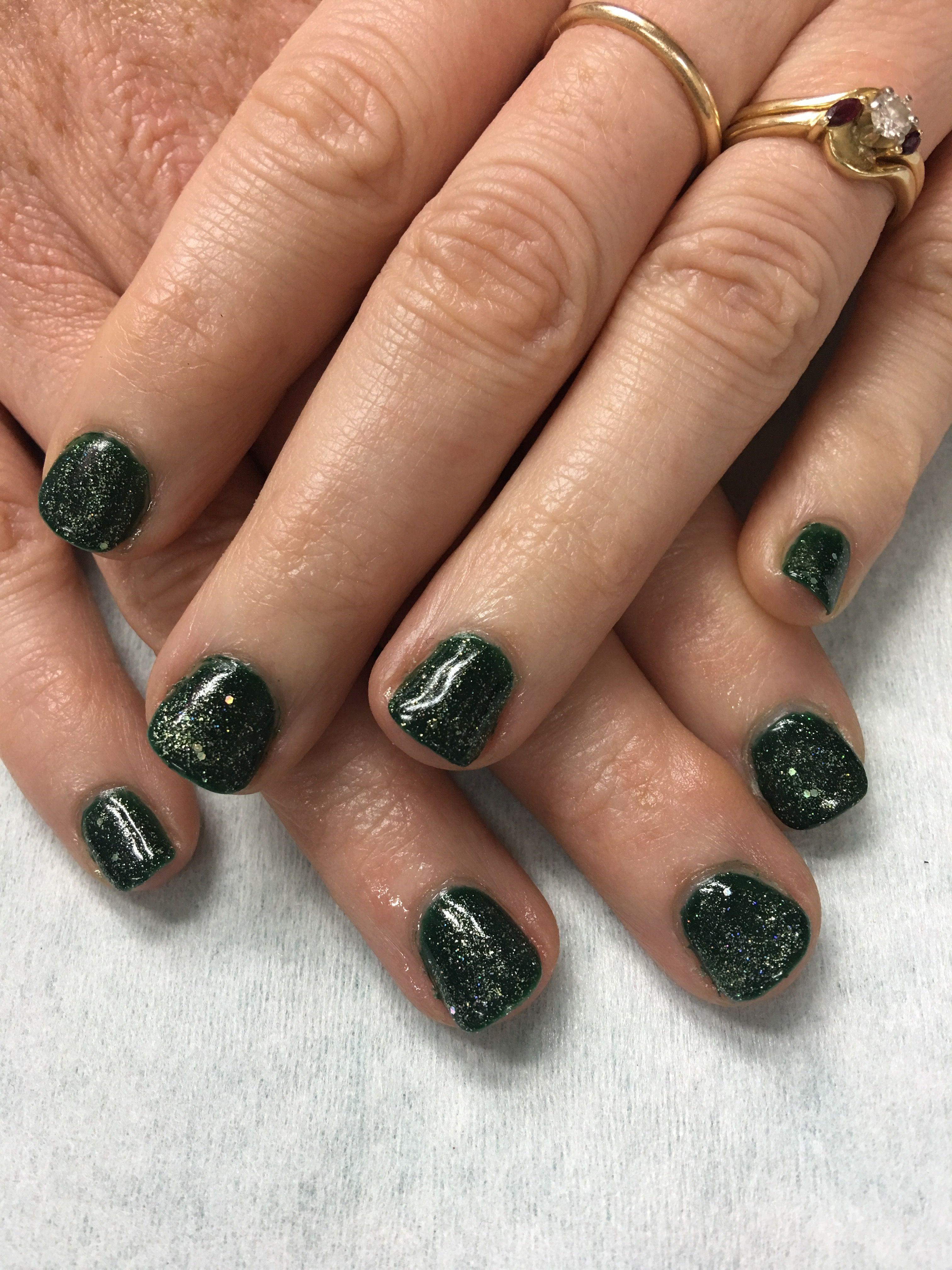 Glitter Green fall gel nails | Gel Nail designs | Pinterest | Fall ...
