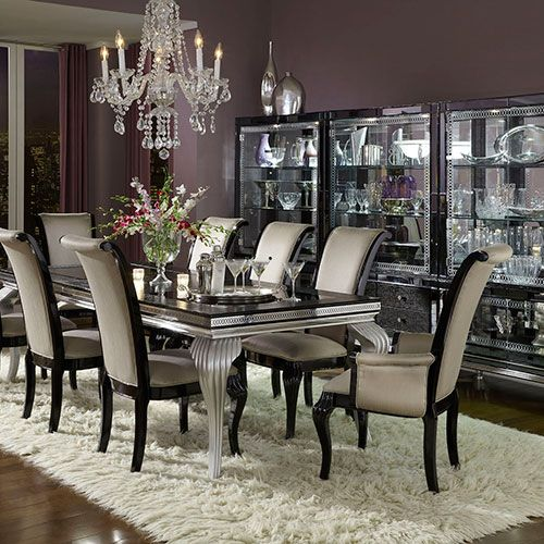 hollywood swank be a star with the michael amini hollywood swark starry night dining room ensemble featured at mobilia furniture brooklyn ny