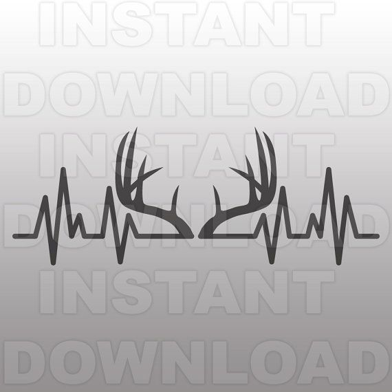 Deer Antlers Heartbeat Svg Filehunting Ekg Svgpulse Etsy In 2020 Hunting Tattoos Deer Hunting Tattoos Hunting Decal