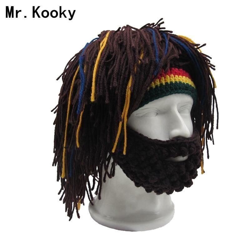 e92a1146d69c5 Mr.Kooky Wig Beard Hat Rasta Beanie Caveman Bandana Handmade Crocheted  Gorro Winter Men s Halloween Costume Funny Birthday Gifts