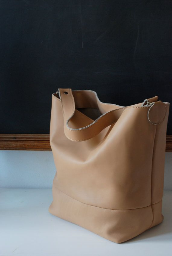 Tan leather tote - Light tan leather bag - Nude bucket bag -  Peach bag on Etsy, $181.32 AUD