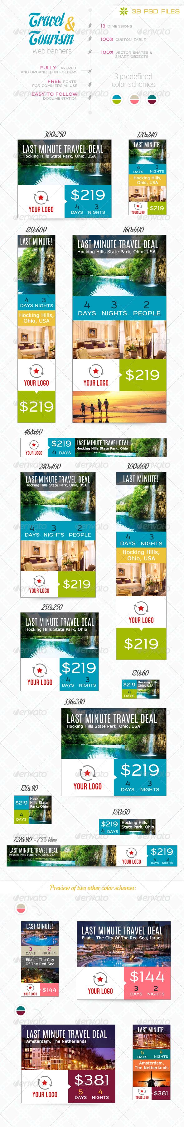 Travel Tourism Web Banner Set Template PSD