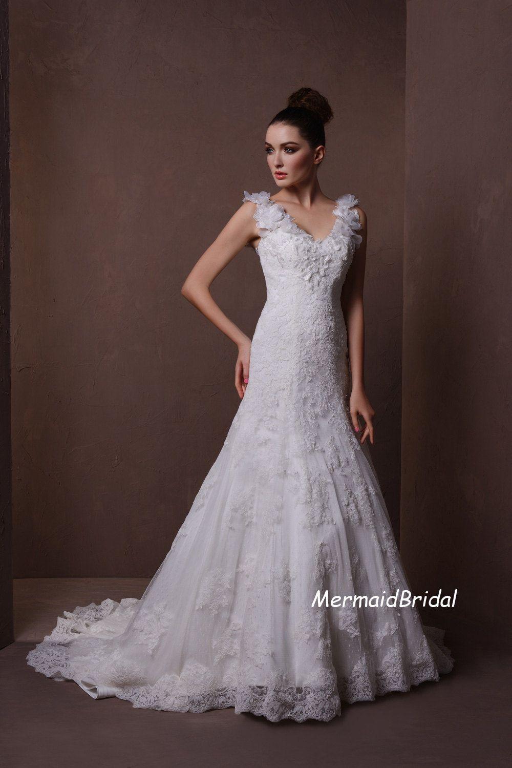 Lace sleeve mermaid wedding dress  Ivory cap sleeves Vintage lace Wedding dress Lace wedding dresses