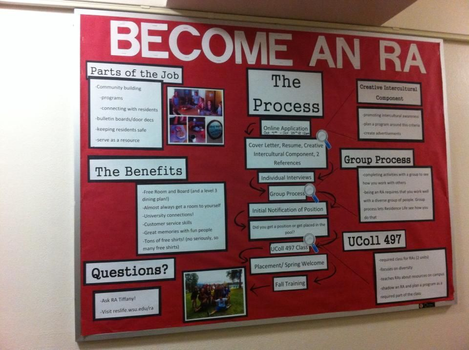 A board about becoming an RA and Washington State University - Resident Assistant Job Description