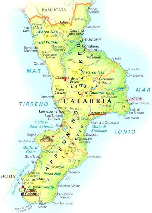 Regione Calabria Cartina Politica.Informazioni Turistiche Regione Calabria Mappa Dell Italia Geografia Calabria Italia