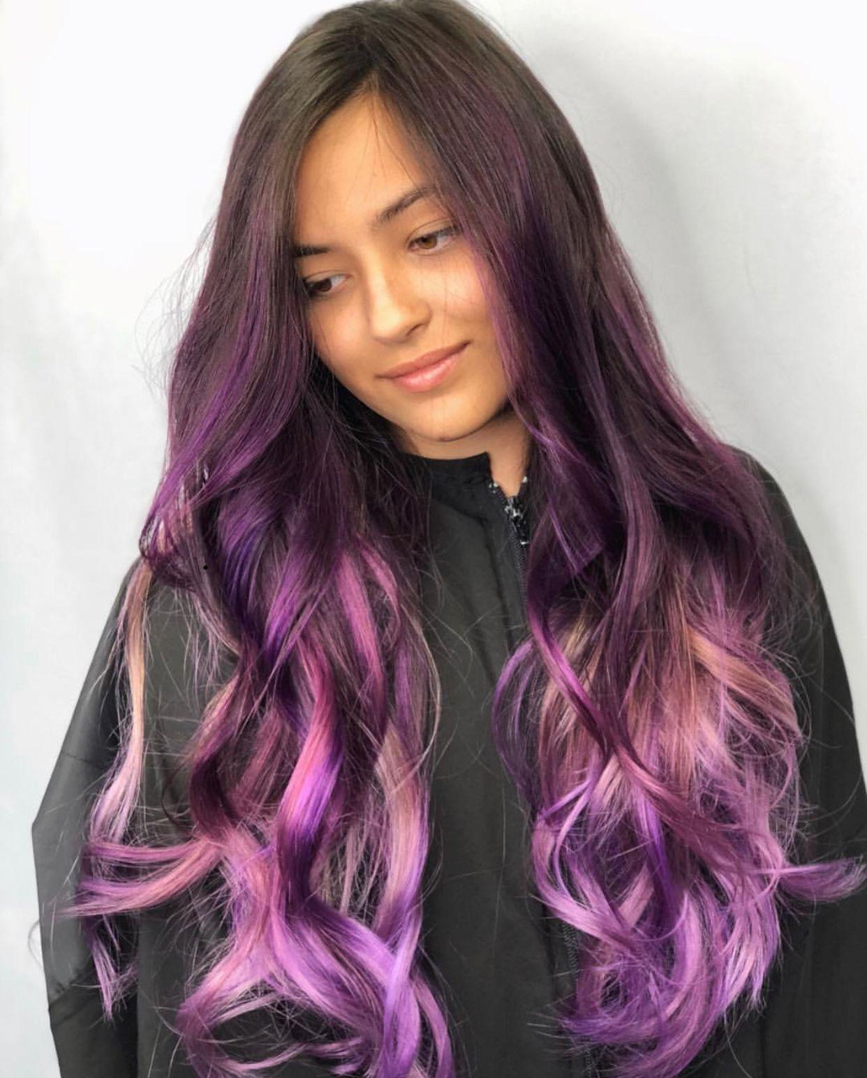 Purple hair Hair extensions miami, Hair, Hair color