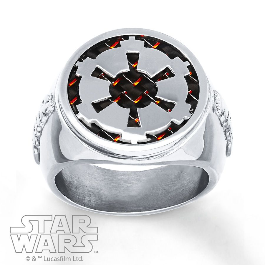 Star Wars Mens Star Wars Band Imperial Crest Stainless Steel ymDeEEspKy