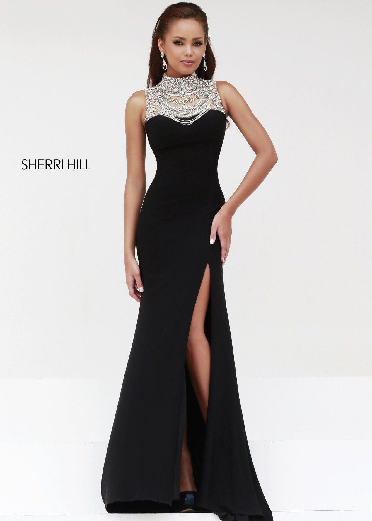 770c8912c005e Sherri Hill 21355 - Black/Silver Beaded Jersey Prom Dresses Online ...