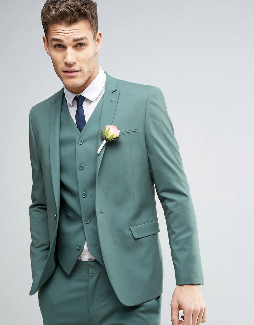 ASOS WEDDING Skinny Suit Jacket In Pine Green - Green | Wedding ...