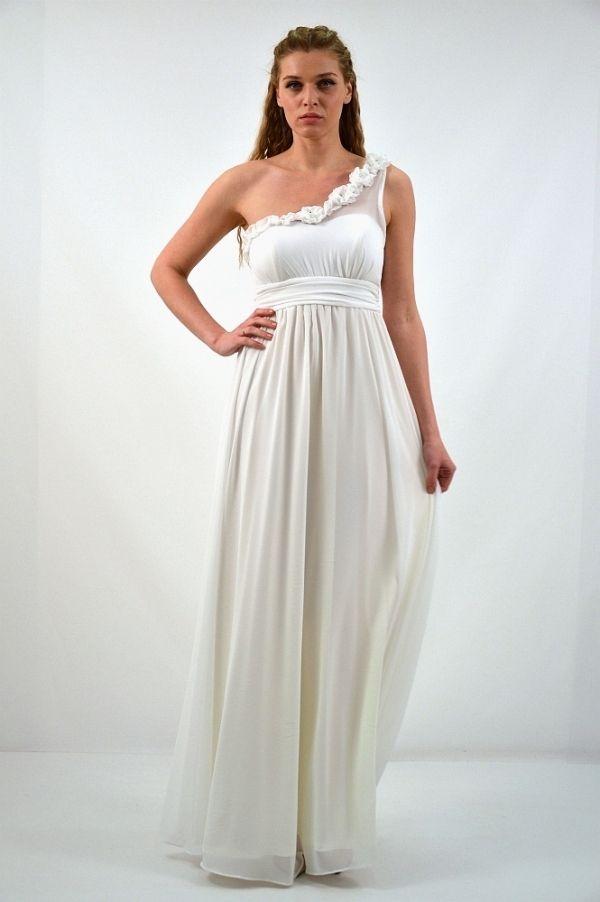c2edd0aeb1c Φόρεμα μακρύ με ένα ώμο | Μακρύ Φόρεμα | Νυφικά φορέματα, Νυφικά και ...