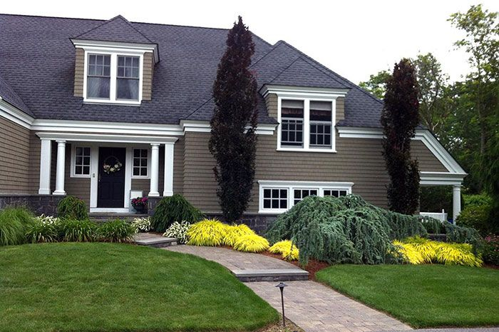 Cape Cod Landscape Design Ideas Part - 24: Landscape Design (Cape Cod Feel) With Eye-catching Plantings, Fastigiate  Beech, Weeping Blue Atlas Cedar, Boxwoods U0026 Weeping Norway Spruce.