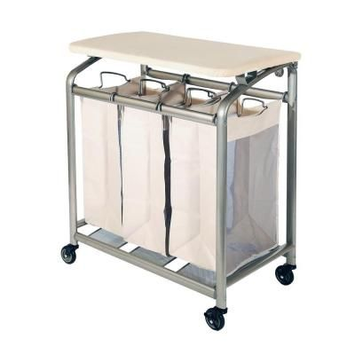 Seville Classics 3-Bag Laundry Sorter with Folding Table-WEB182 - The Home Depot