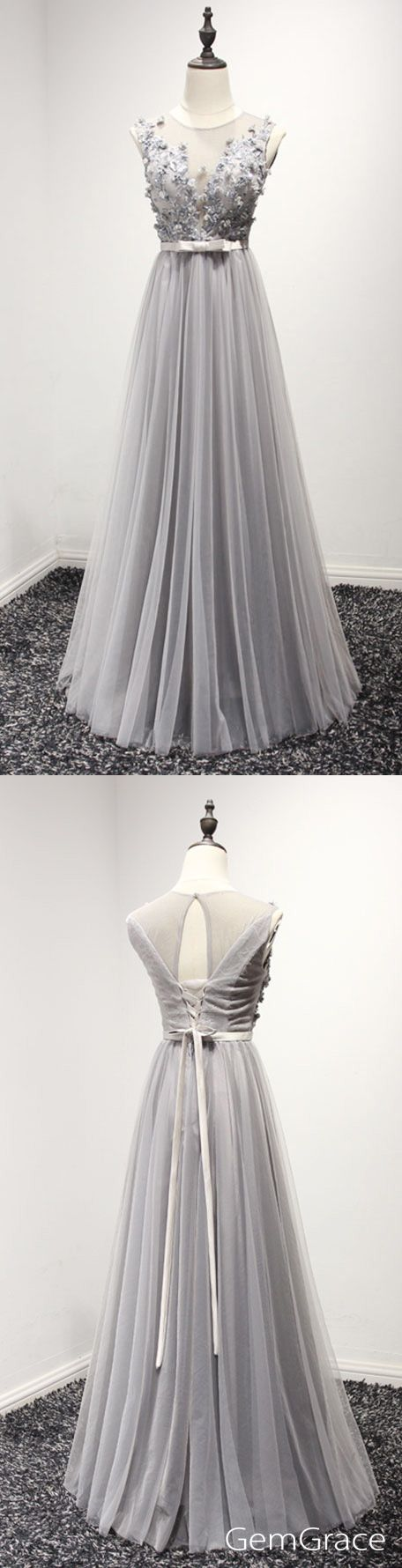 Modest grey long homecoming prom dresses aline tulle with beading