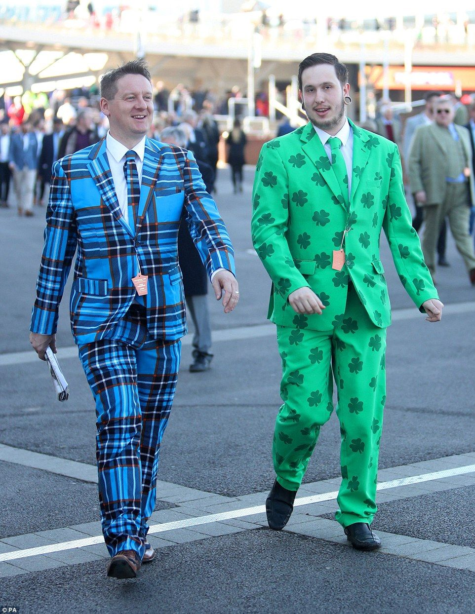 Go bold or go home: Two men arrived for Ladies Day in some very outlandish  suits